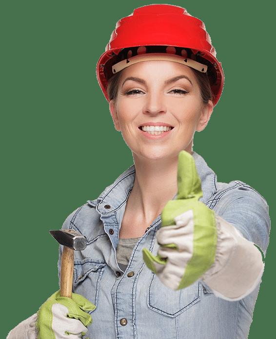 Bauen mit einer Bauarbeiterin zur Veranschaulichung